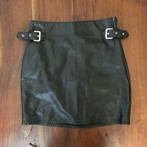 Faux Leather Buckle Skirt